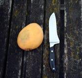 Mango und ein großes Messer Stockbild