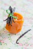 Mango and vanilla jam. Mango jam with vanilla, selective focus stock photo