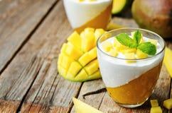 Mango vanilla whipped cream dessert Stock Photo