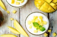 Mango vanilla whipped cream dessert Royalty Free Stock Photos