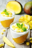 Mango vanilla whipped cream dessert Royalty Free Stock Images