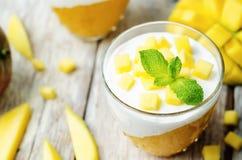 Mango vanilla whipped cream dessert Royalty Free Stock Image
