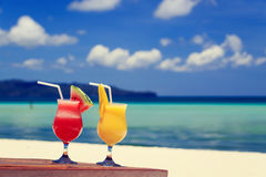 Mango and watermelon cocktails on beach Royalty Free Stock Images