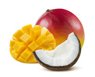 Mango whole cut half coconut isolated on white background Stock Images