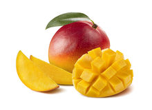 Mango whole cut half isolated on white background Royalty Free Stock Image