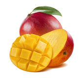 Mango whole half cut isolated on white background Stock Photography