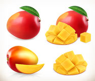 Mango. Whole and pieces. Sweet fruit. 3d vector icons set Royalty Free Stock Photography