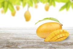 Mango on wood with fruit on tree background Stock Photography