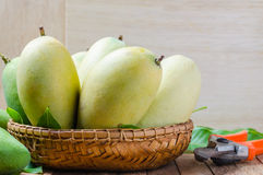 Mango on a wooden background stock photography