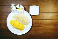Mango y arroz pegajoso con leche de coco Foto de archivo