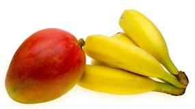 Mango y plátano Imagen de archivo