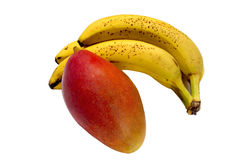 Mango y plátano Fotos de archivo libres de regalías