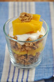 Mango Yoghurt. Yoghurt with granola and mango for breakfast royalty free stock photography