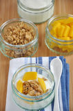 Mango Yoghurt. Ingredients for a healthy breakfast: Yoghurt with granola and mango royalty free stock photography