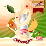 Mango yogurt ads. Splashing scene with package and fruits. Editable mockup. HiRes, Vector EPS10 file. 100% Layered and editable. Good for all sizes royalty free illustration