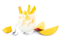 Mango yogurt on white Royalty Free Stock Photo