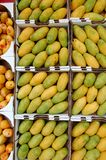 Mangoes. Green and yellow mangoes for sale in the market Stock Photo