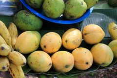 Mangoes and bananas for sale in a Cambodian market Stock Images