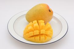 Mangoes on a Plate. Mangoes, sliced and cubed Stock Photos