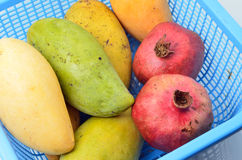 Mangoes and pomegranate Stock Image