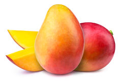 Mangoes with slices isolated Stock Photos