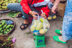 Mangoes are sold in the market, Vietnam Stock Photo