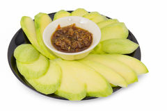 Mangoes with Sweet fish sauce Stock Photos