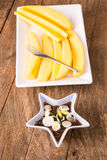 Mangoes with Sweet fish sauce Stock Images