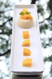 Mangofrucht mit klebrigem Reis Lizenzfreie Stockfotografie