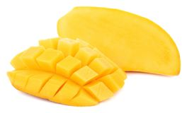 Mangofrucht mit lokalisiert auf weißem Hintergrund lizenzfreie stockbilder