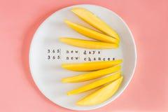 Mangofruit en mangoplakken op de witte plaat stock afbeelding