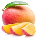 Mangofrukt- och mangoskivor kvast isolerad white arkivbilder