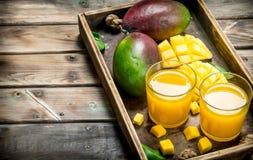 Mangofruktsaft i ett exponeringsglas på magasinet arkivbilder