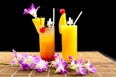 Mangofruktsaft och fruktsaftsodavatten med frukt på glass isolering svärtar Royaltyfri Fotografi