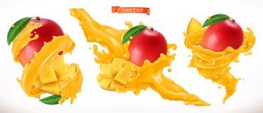 Mangofruktsaft Vektorsymbol för ny frukt 3d royaltyfri illustrationer