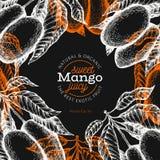 Mangoontwerpsjabloon Hand getrokken vector tropische fruitillustratie op schoolbord Gegraveerd stijlfruit Uitstekend exotisch voe vector illustratie