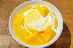 Mangopudding med den ny mango och mangosås, thailändsk stil Royaltyfri Foto