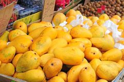 Mangos. In a chinatown in new york street supermarket stock photo