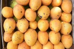 Mangos amarillos en una caja fotografía de archivo libre de regalías