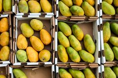 Mangos inside paper container on market from above stock images