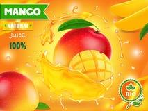 Mangosaftwerbung Getränk-Verpackungsgestaltung der tropischen Frucht lizenzfreie abbildung