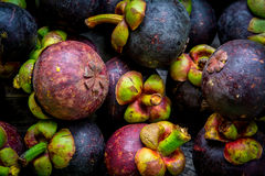 Mangostán en el fondo de madera, colorido de la fruta Imagenes de archivo