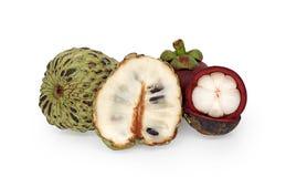 Mangostan en Vla Geïsoleerde appel Royalty-vrije Stock Afbeeldingen
