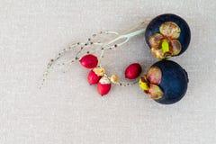 Mangostan owoc na stole zdjęcia stock
