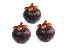 Mangostan - Tropische Vruchten Mangostan op witte achtergrond Stock Foto's