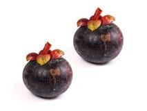 Mangostan - Tropische Vruchten Mangostan op witte achtergrond Royalty-vrije Stock Foto