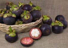 Mangostanes púrpuras en una cesta de la rota en fondo de la arpillera Foto de archivo