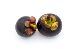 Mangostanfrucht auf weißem Hintergrund, Mangostanfruchtisolierung Lizenzfreies Stockfoto