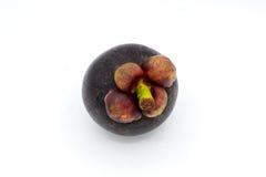 Mangostanfrucht auf weißem Hintergrund, Mangostanfruchtisolierung Stockbilder
