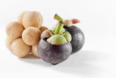 Mangostanfrucht und Longkong sind südlicher asiatischer Aromabonbon der Frucht I Stockfotografie